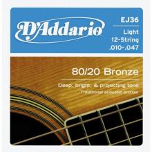 Струны для акустической гитары D'addario EJ36